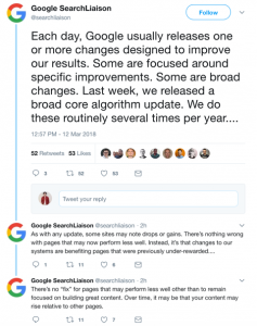 Google Twitter Announcement of Algorithm Update