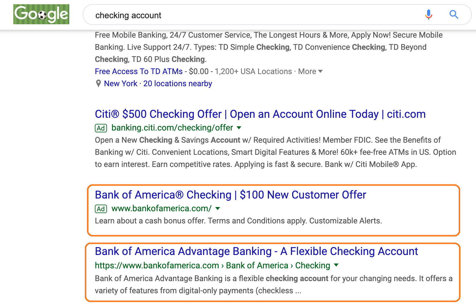 Holistic Search - Enterprise SEO strategy - Checking Account example