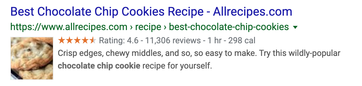 Google result snippet with rating, price range and review