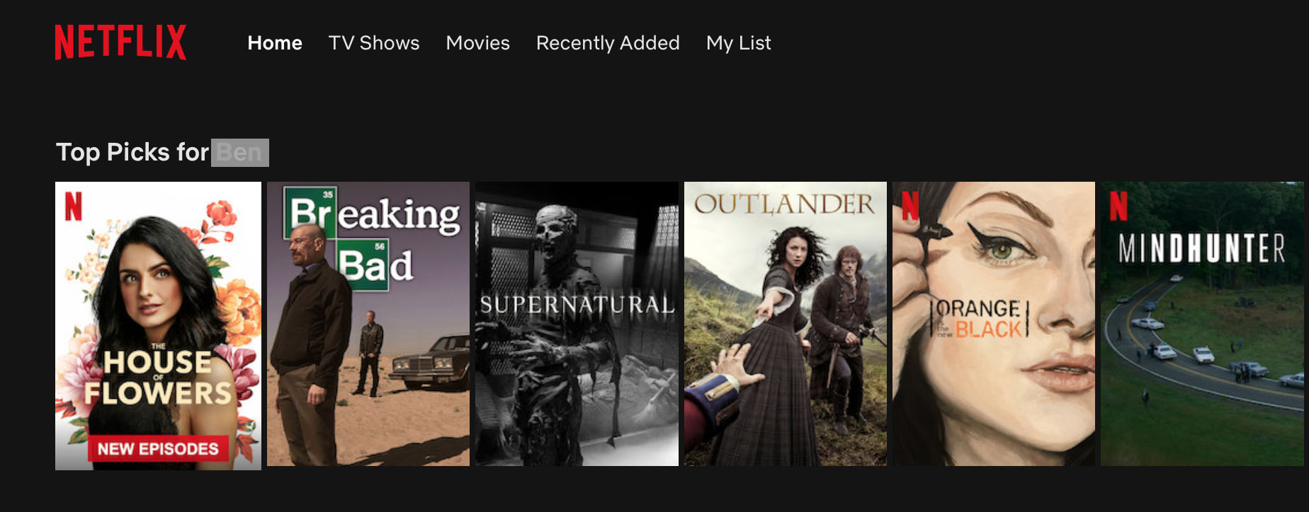 Netflix uses hyper-personalization to provide viewing suggestions to users based on their viewing history.