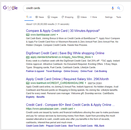 Organic and paid results are almost similar with URLs in both cases highlighted in green font